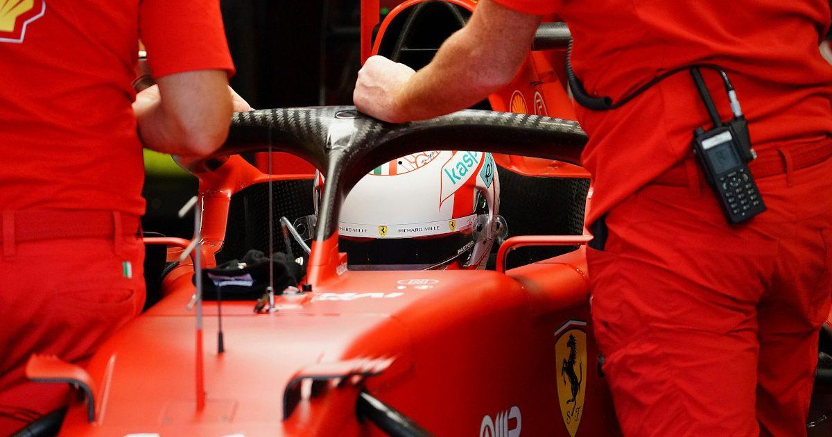 Charles Leclerc Ferrari garage. Italy September 2021