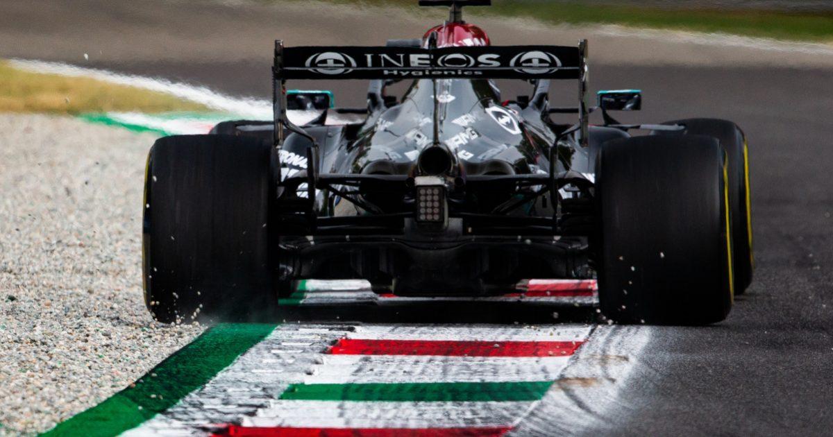 Lewis Hamilton kicks up gravel. Italy September 2021.