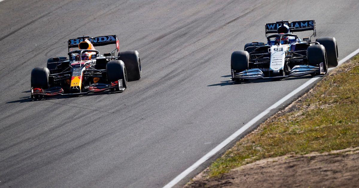 Max Verstappen and George Russell side by side. Netherlands September 2021