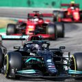 Lewis Hamilton ahead of the Ferraris during sprint qualifying for the Italian GP. Monza September 2021.