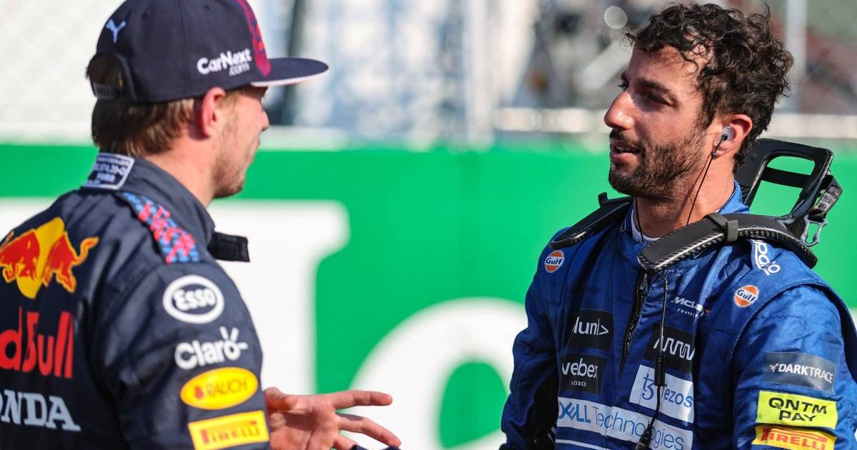 Daniel Ricciardo and Max Verstappen talk post-sprint qualy. Italy, September 2021.
