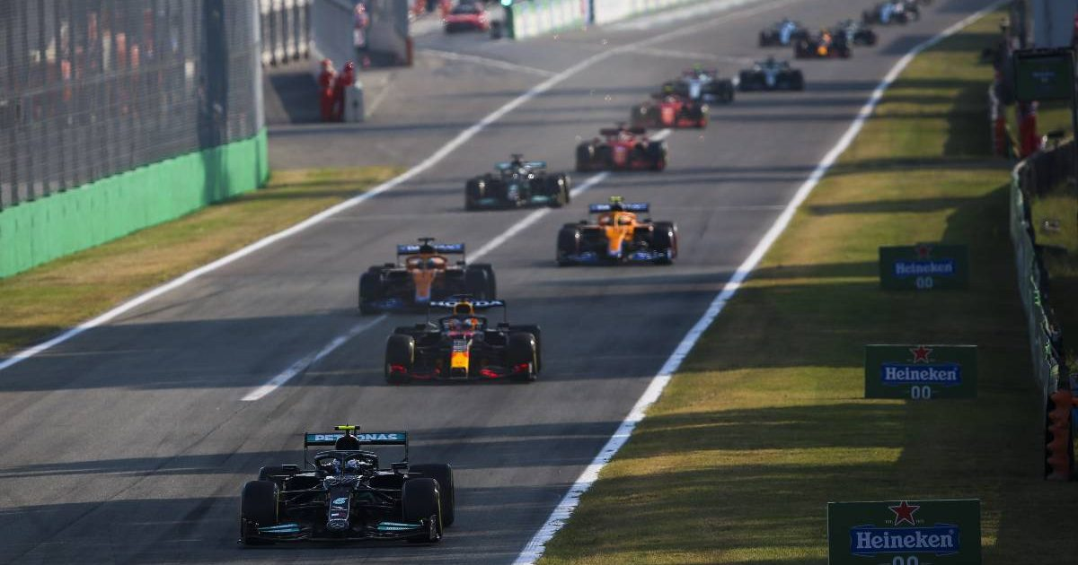 Valtteri Bottas leads during sprint qualifying for the Italian Grand Prix. Monza September 2021.