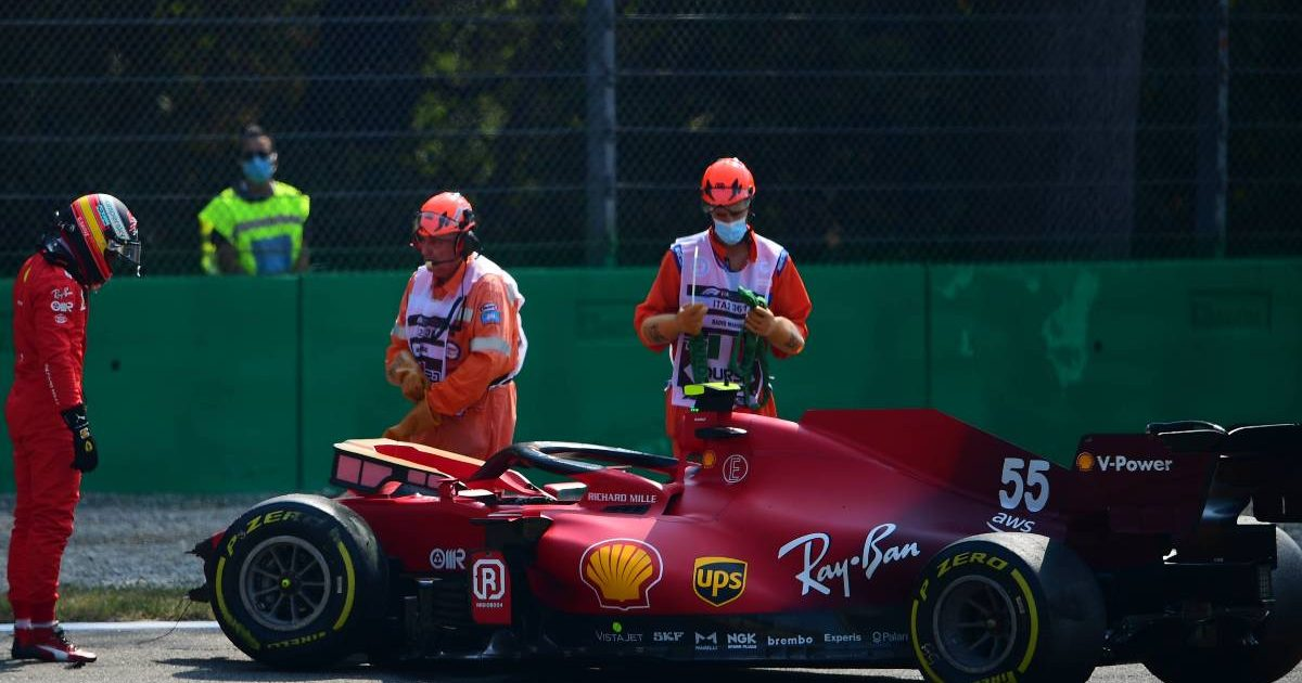 Carlos Sainz standing next to his crashed Ferrari in FP2 for the Italian GP. Monza September 2021.