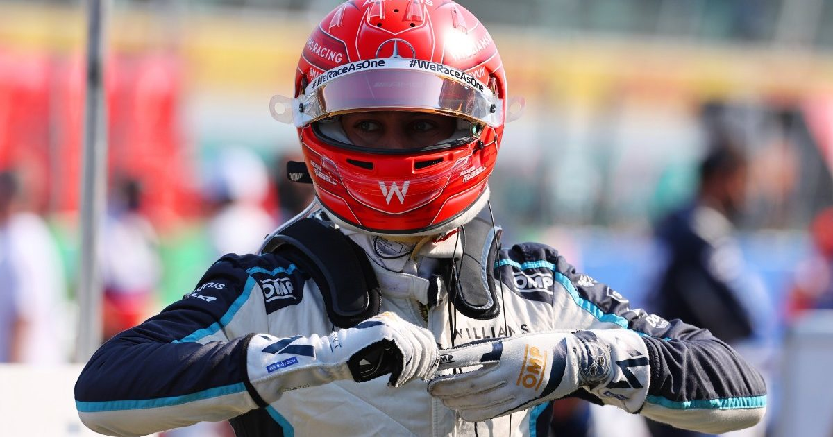 George Russell, Williams, removing his gloves at Monza. Italy, September 2021.
