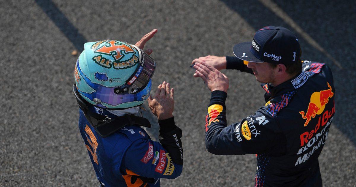 Daniel Ricciardo explains to Max Verstappen. Italy September 2021.