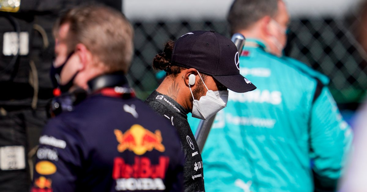 Lewis Hamilton looking at his cellphone. Italy September 2021.