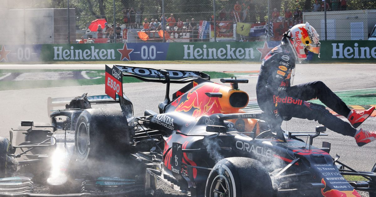 Max Verstappen and Lewis Hamilton crash. Italy September 2021