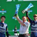 Daniel Ricciardo, Lando Norris and Zak Brown celebrate a one-two finish for McLaren. Italy September 2021.