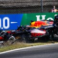 Max Verstappen, Red Bull, and Lewis Hamilton, Mercedes, crash in Italy. September 2021.