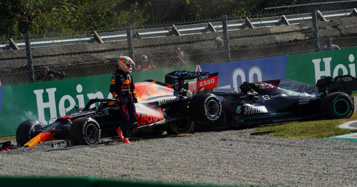 Max Verstappens walks away from his crash with Lewis Hamilton. Italy, September 2021.