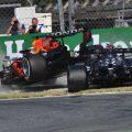 Max Verstappen and Lewis Hamilton crash at Monza. September 2021.