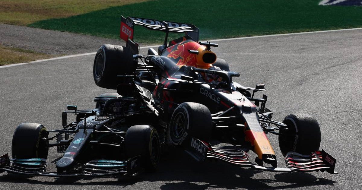 Max Verstappen's Red Bull on top of Lewis Hamilton's Mercedes at the Italian GP. Monza September 2021.