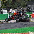 Max Verstappen's Red Bull lands on top of Lewis Hamilton's Mercedes in the Italian GP. Monza September 2021.