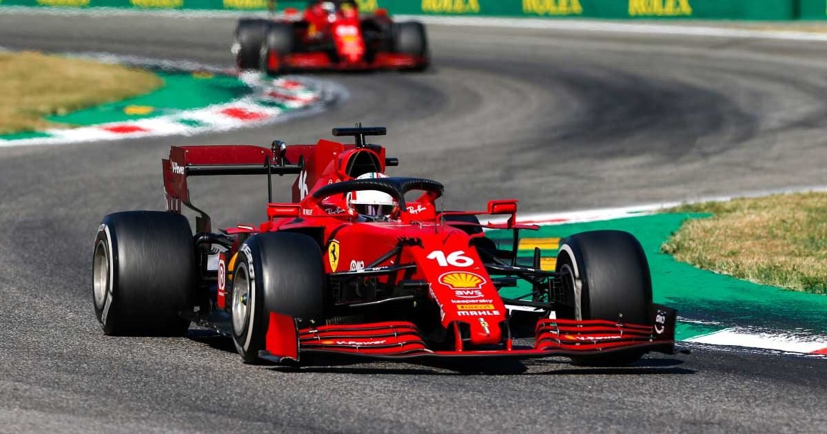 Ferrari drivers Charles Leclerc and Carlos Sainz. Italian GP 2021.