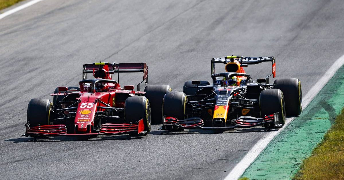 Sergio Perez [Red Bull] and Carlos Sainz [Ferrari] battle at the Italian GP. September 2021.