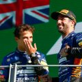Daniel Ricciardo and Lando Norris celebrate on the podium. Italy September 2021