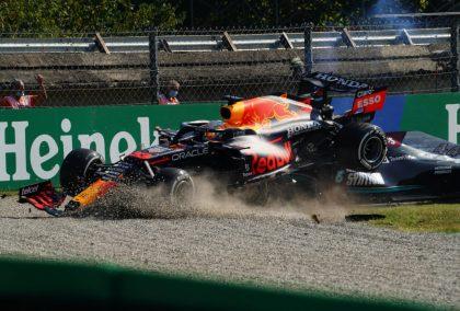 Max Verstappen and Lewis Hamilton crash. Italy September 2021.