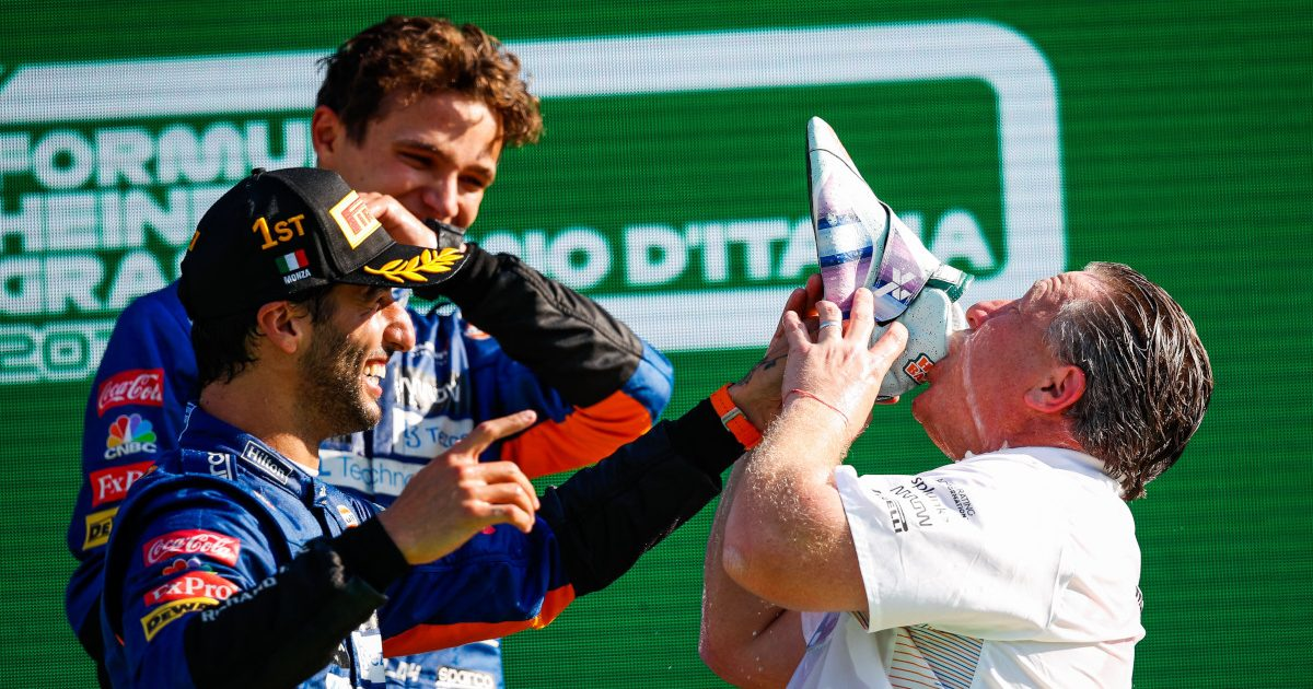 Zak Brown takes a shoey with Daniel Ricciardo. Italy September 2021