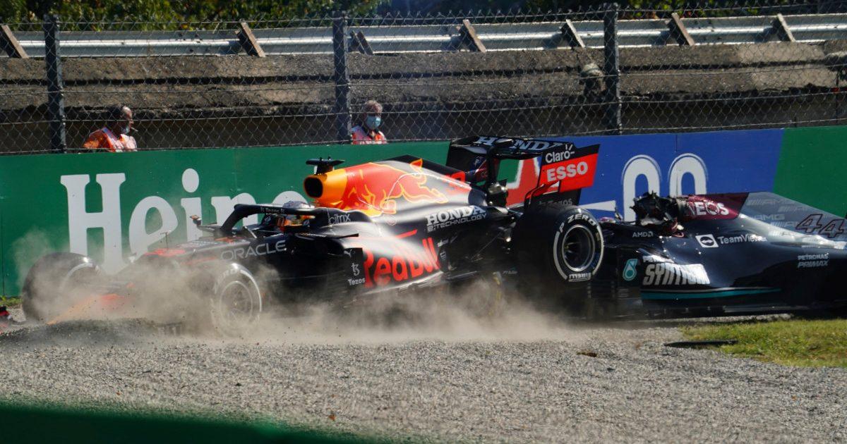 Max Verstappen ploughs into the gravel. Italy September 2021.