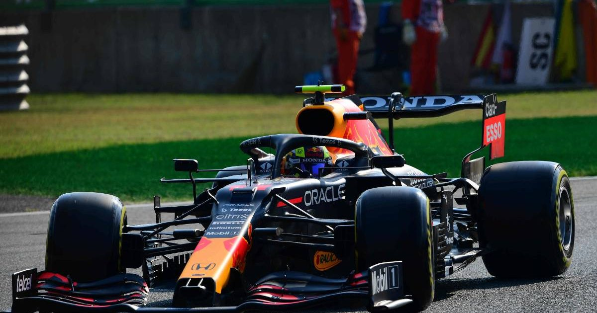 Sergio Perez in action for Red Bull at the Italian GP. Monza September 2021.