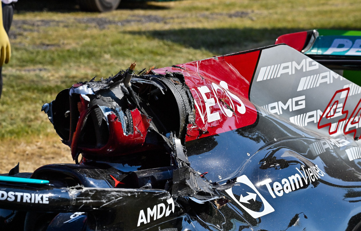 Lewis Hamilton and damaged Halo and rollbar. Italy September 2021