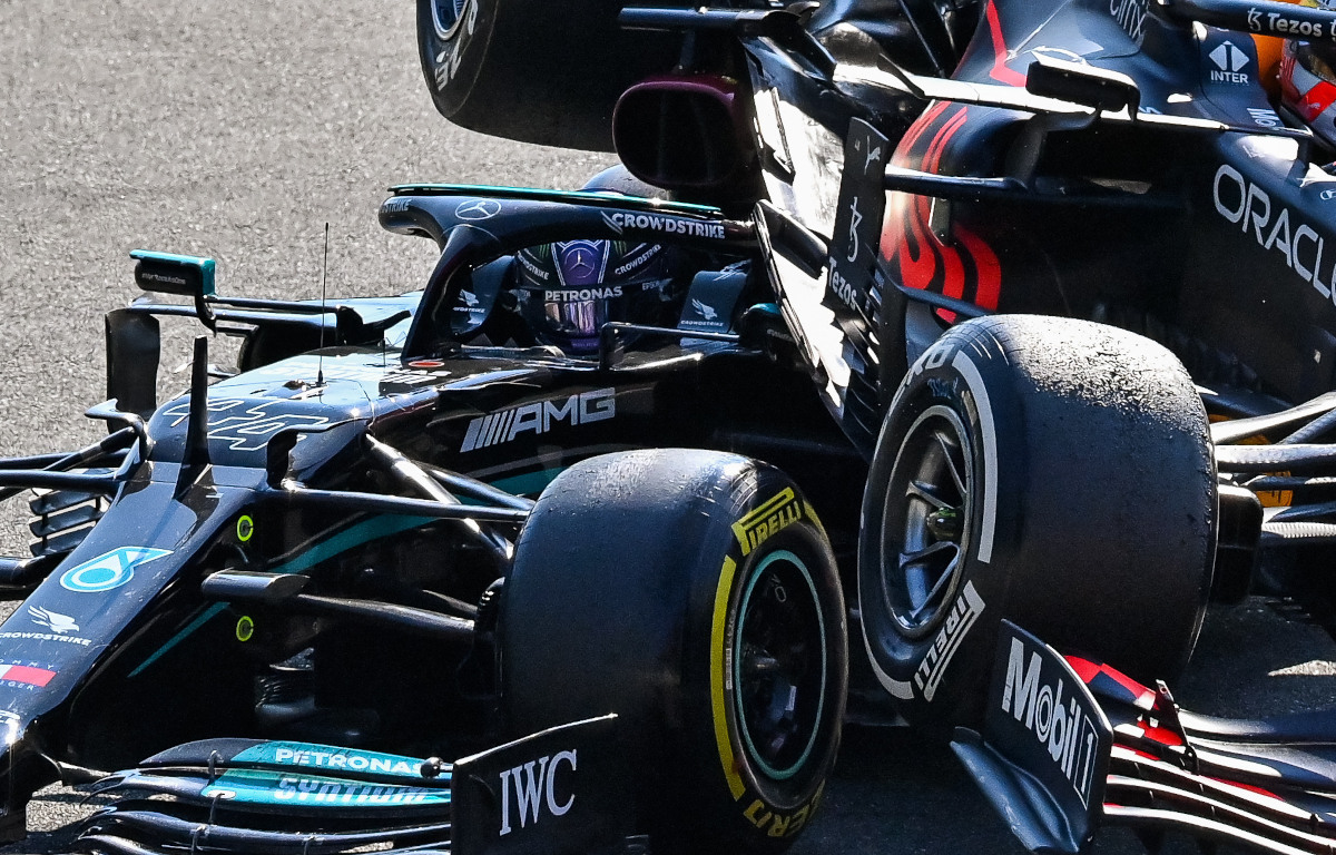 Lewis Hamilton with Max Verstappen on top of him. Italy September 2021
