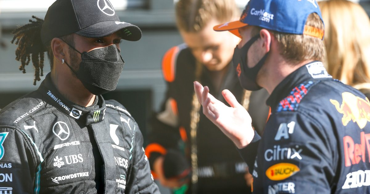 Lewis Hamilton and Max Verstappen in conversation. Italy September 2021