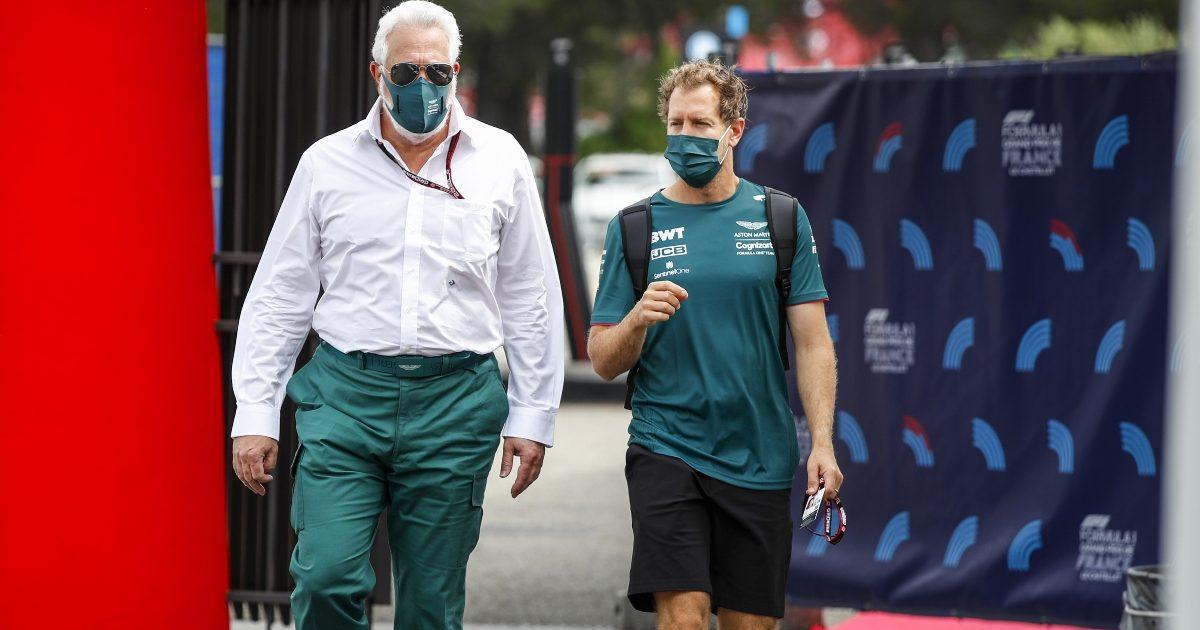 Lawrence Stroll and Sebastian Vettel in conversation. France June 2021