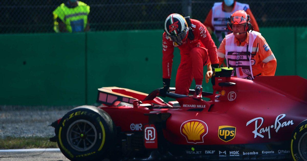 Carlos Sainz crashes his Ferrari. Italy September 2021