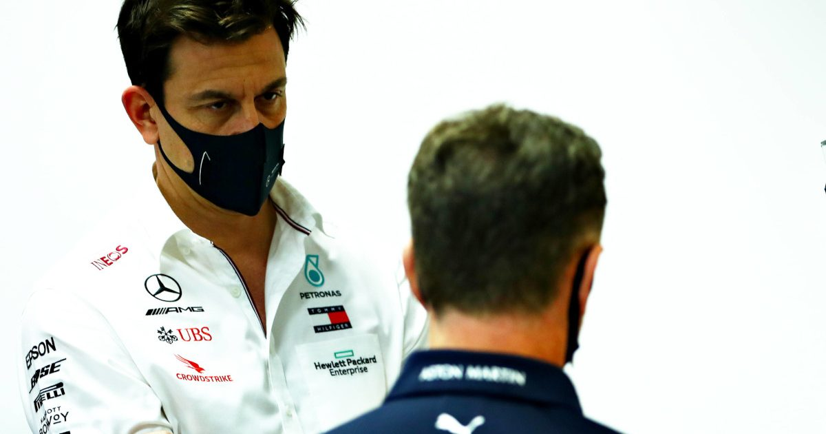 Toto Wolff staring at Christian Horner. Bahrain December 2021