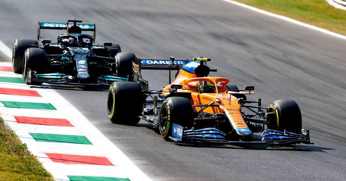Lando Norris defends against Lewis Hamilton in Italy. September 2021.