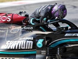 Lewis Hamilton exits his damaged Mercedes. Italy, September 2021.