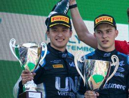 Alpine junior drivers Oscar Piastri and Guanyu Zhou Formula 2 podium. Italy September 2021