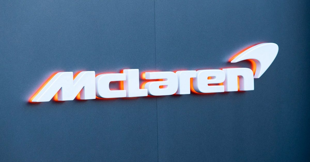 The McLaren F1 team logo. Spain, February 2020.
