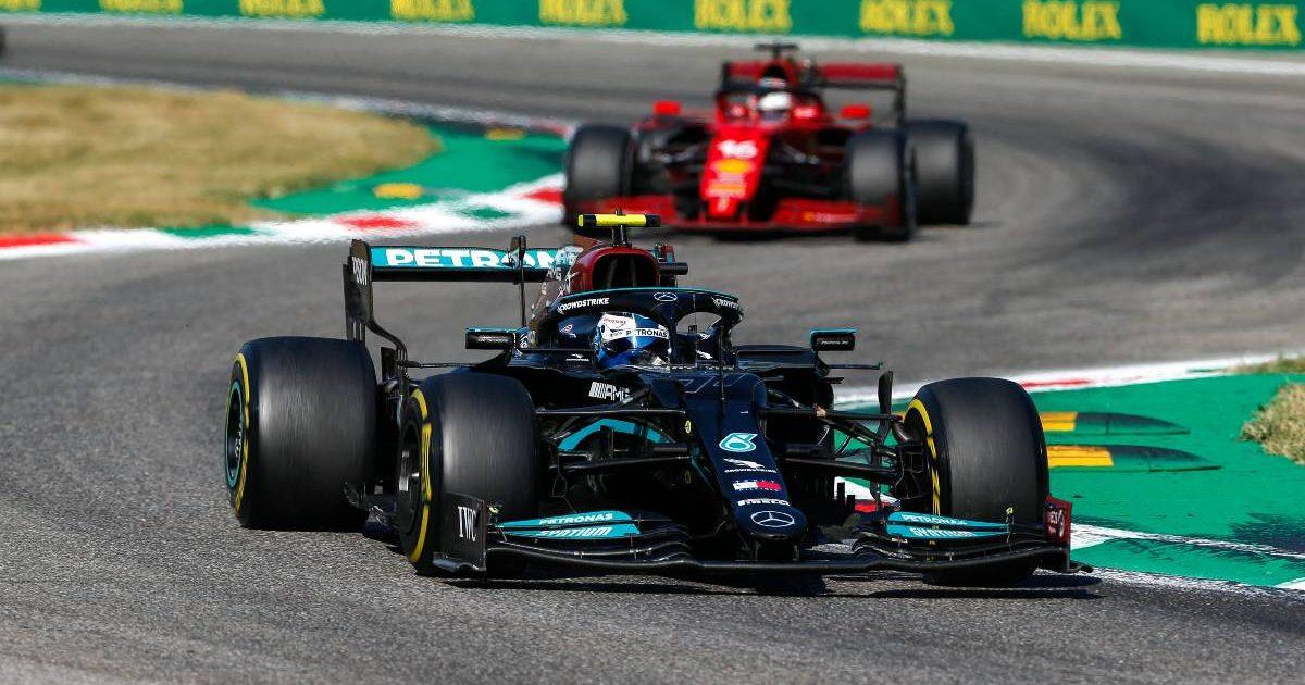 Valtteri Bottas ahead of Charles Leclerc during the Italian GP. Monza September 2021.