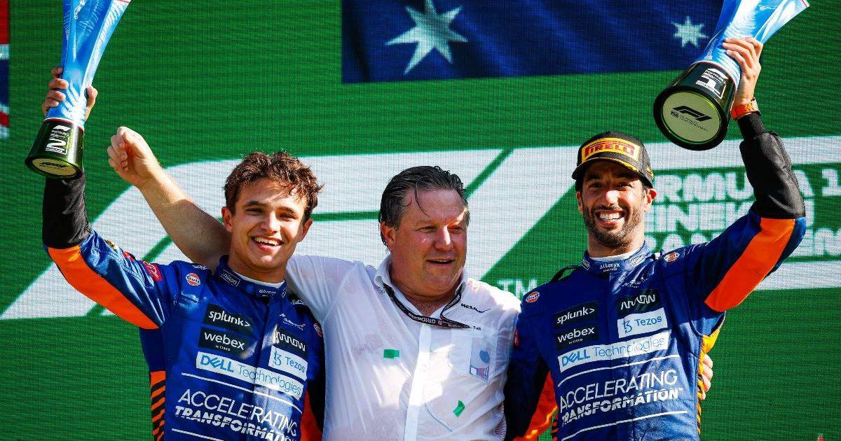 Lando Norris, Zak Brown and Daniel Ricciardo after the Italian GP. Monza September 2021.