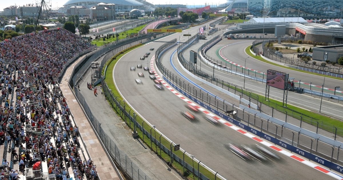 Cars race at the 2020 Russian Grand Prix. Russia September 2020