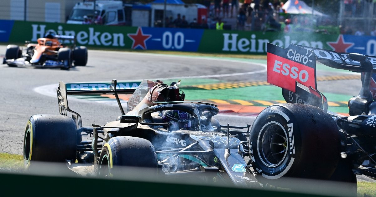 Lewis Hamilton's destroyed Mercedes following his crash with Max Verstappen at the Italian Grand Prix. Italy September 2021