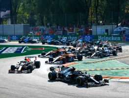 Valtteri Bottas leads through the first chicane during Italian GP sprint qualifying. Monza September 2021.