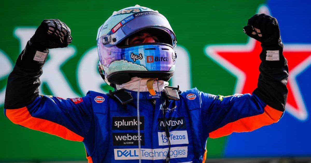 Daniel Ricciardo punches the air in Monza.