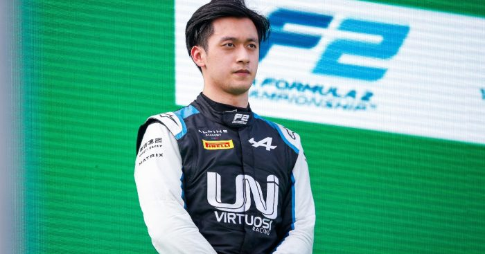 Guanyu Zhou on the podium at Monza. Italy September 2021