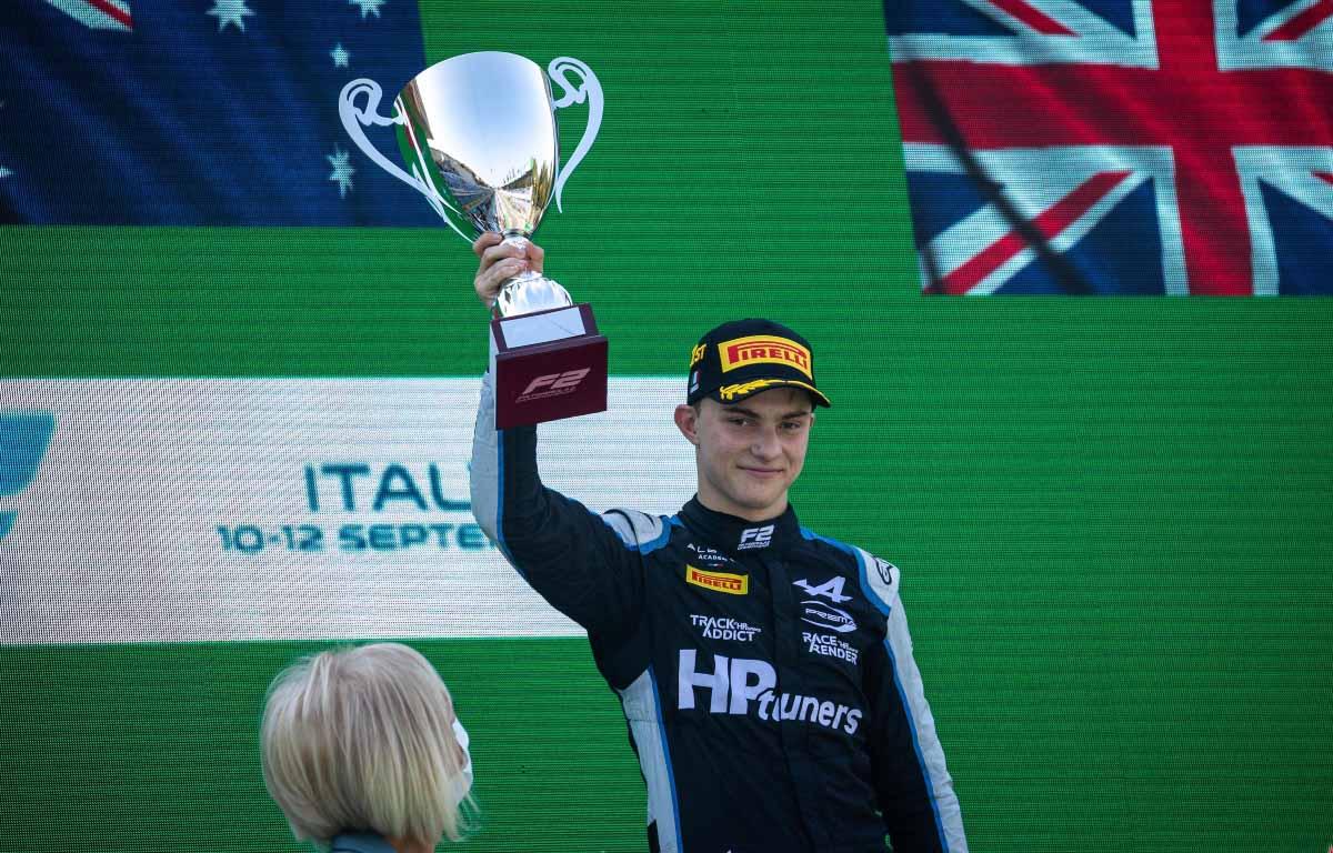 Oscar Piastri on the podium at Monza.