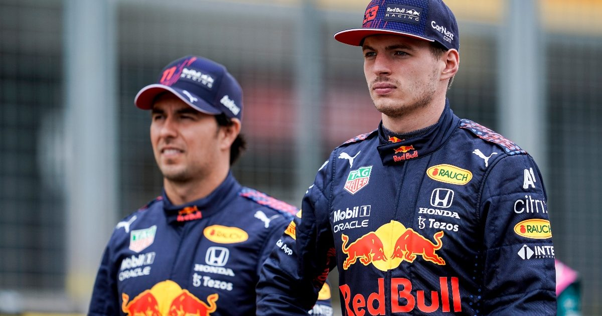 Sergio Perez and Max Verstappen at SIlverstone. Great Britain July 2021