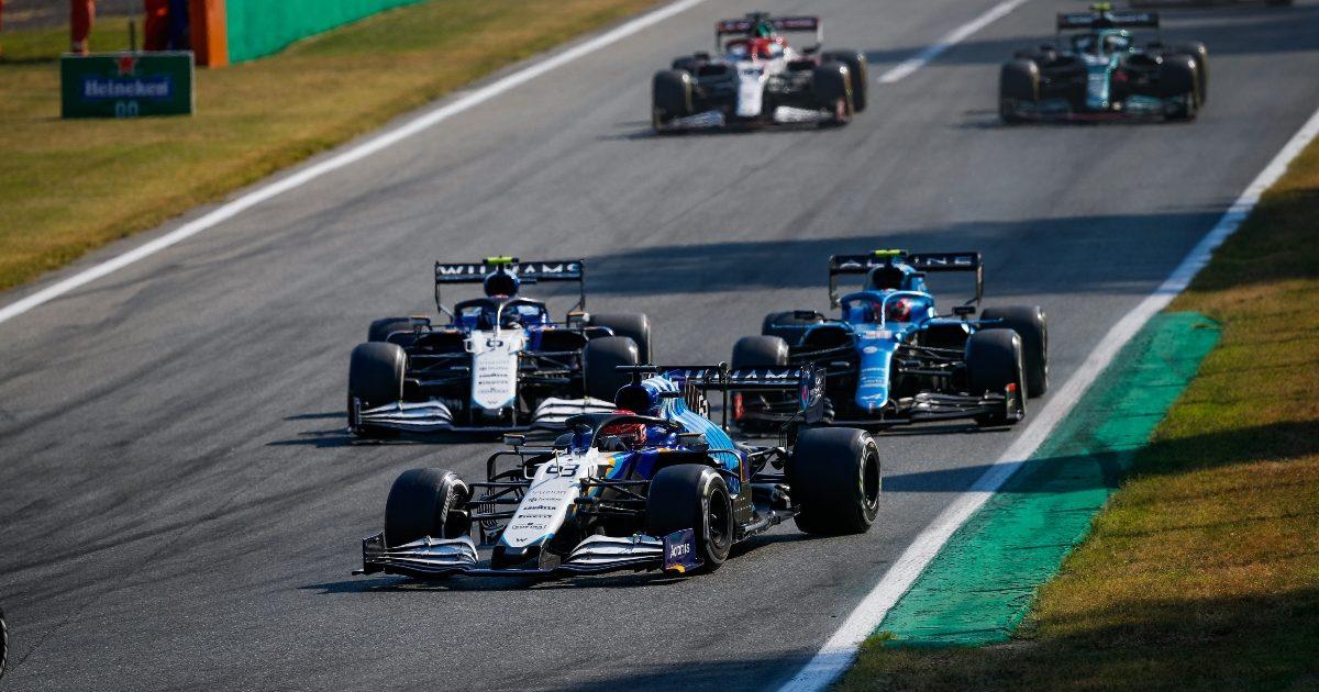 Nicholas Latifi, George Russell and Esteban Ocon racing in Monza. Italy September 2021