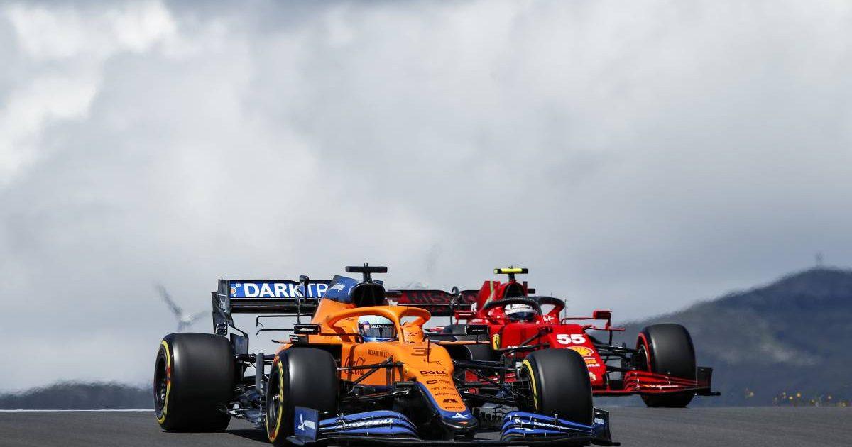 Daniel Ricciardo just ahead of Carlos Sainz during the Portuguese GP weekend. Portimao May 2021.