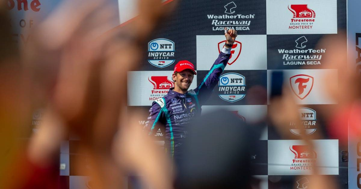 Romain Grosjean receives a rousing ovation from the crowd. Laguna Seca September 2021.