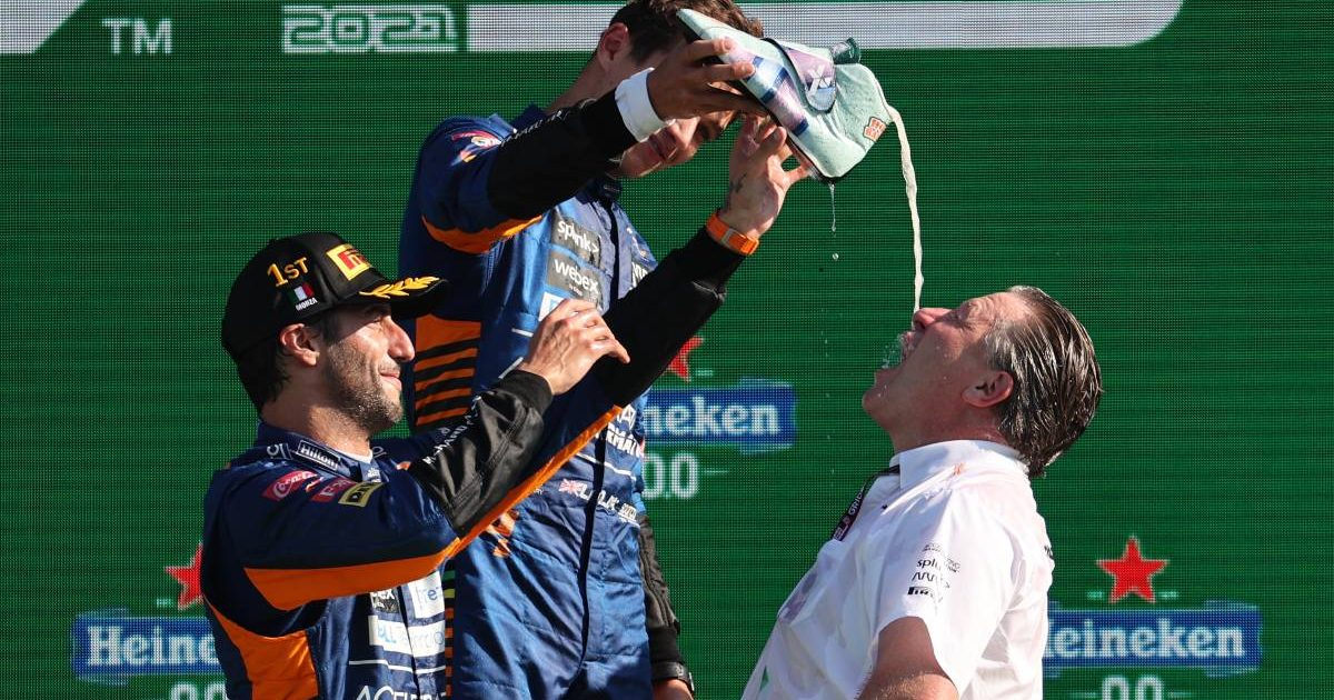 McLaren Racing CEO Zak Brown partakes in a shoey. Italy, September 2021.