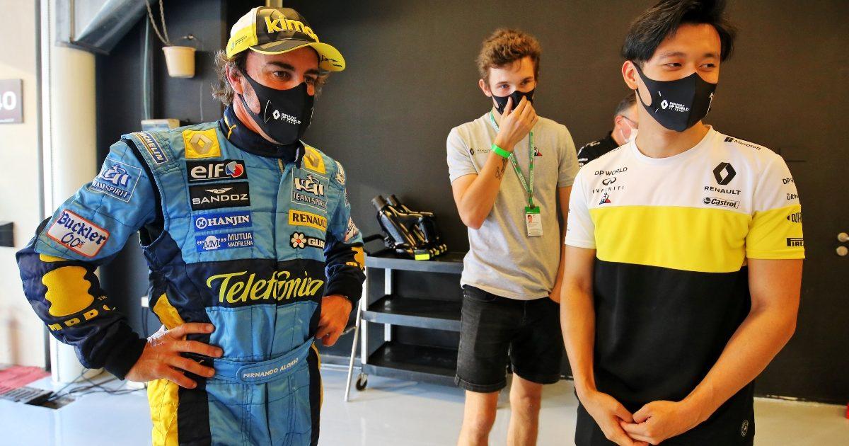 Fernando Alonso and Guanyu Zhou. Abu Dhabi December 2020