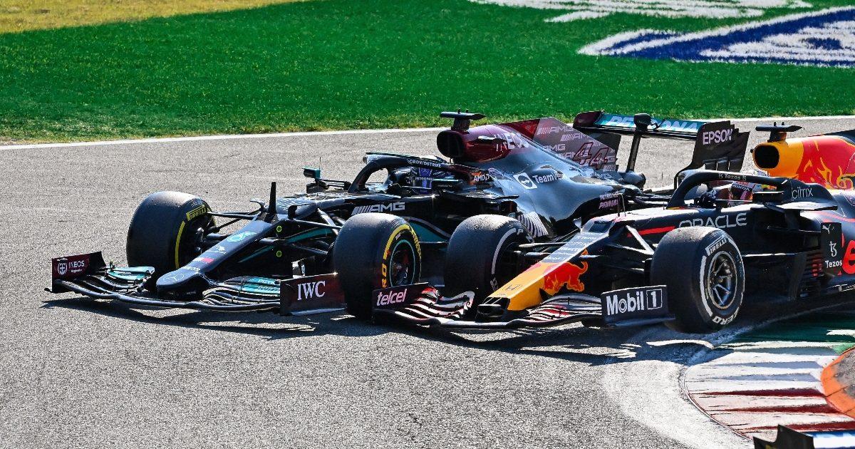 Lewis Hamilton and Max Verstappen go wheel to wheel. Italy September 2021