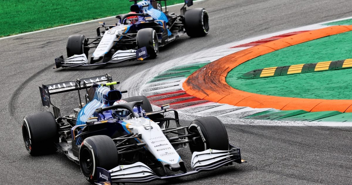 George Russell and Nicholas Latifi racing at Monza. Italy September 2021